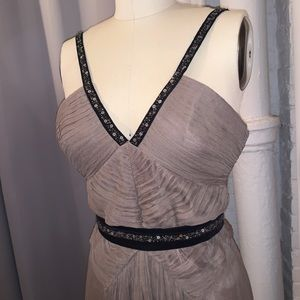 Bcbg maxazria long gown taupe size xs s 4